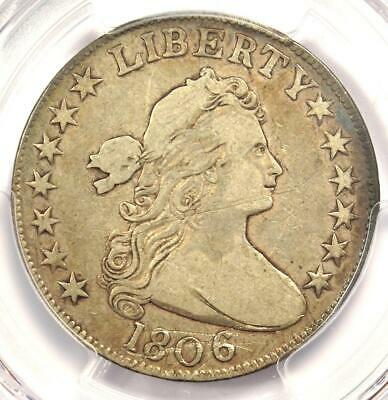 1806 Draped Bust Half Dollar 50C Coin (Knob 6, Small Stars) - PCGS VF Details
