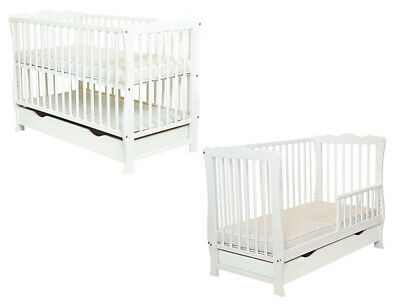 Baby Cot Bed / Junior bed / Toddler with Drawer + mattress WHITE color