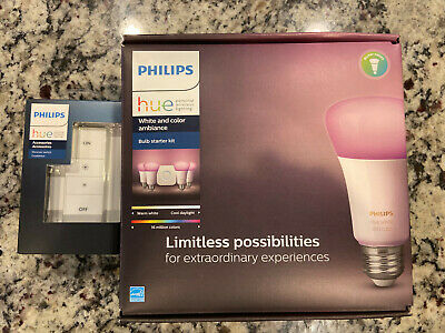 Philips Hue White and Color Ambiance E26 Bulb Starter Kit (471960) with Dimmer