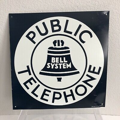 """Public Telephone Bell Square Metal Sign 11"""" X 11"""" Triple AAA sign Co Nostalgia"""