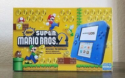 Nintendo 2DS Super Mario Bros 2 Electric Blue Complete In Box, Adult Owned CLEAN