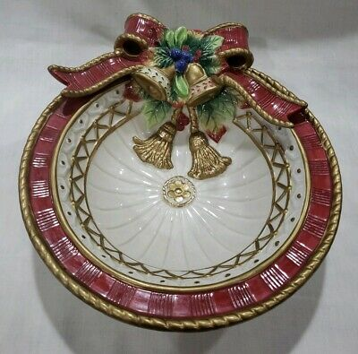 Fitz And Floyd classics Christmas Deer Bowl Candy Dish Bow Red Bow