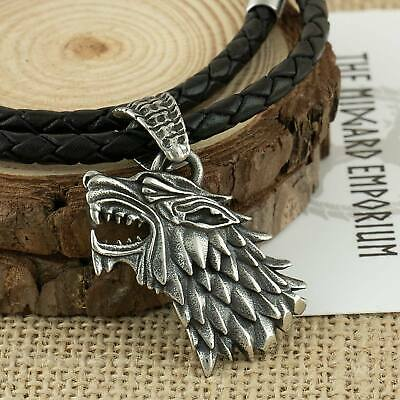 Game of Thrones House Stark Dire Wolf Necklace Stainless Steel Mens Jewellery