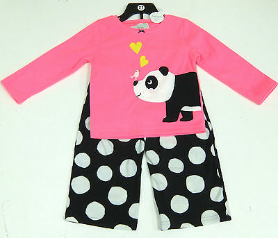 Carter's Girls 2 Pce Panda Pyjamas Set, Pink Top, Black Fleecy Bottoms 2 Years