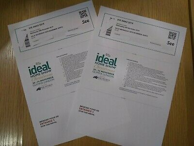 IDEAL HOME SHOW CHRISTMAS OLYMPIA  LONDON 2 Adult Tickets Wed 20 November 2019
