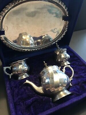 Vintage silver plated small tea set with case (tray,cream&sugar)
