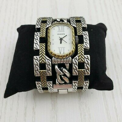 Chicos Antique Style Two Tone Wide Cuff Watch Bracelet Gold Silver Tone Hinge