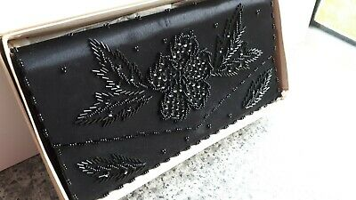 Vintage 1950's Satin Beaded Black Cocktail Purse Small Clutch Bag Boxed