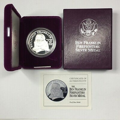 BEN FRANKLIN FIREFIGHTERS SILVER MEDAL w/ BOX & COA - U.S. MINT - 1 oz .999