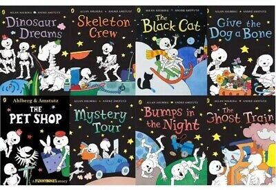 Funny Bones Collection By Allan Ahlberg 8 Book Set With Black Book Bag