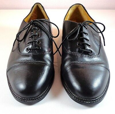 Mens Oxford Lotus Bawa of England Black Leather Cap Toe Shoes Size UK 7.5