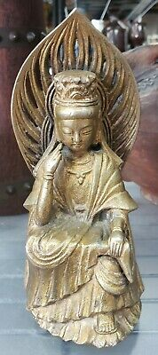 Mid to Late 19th Cent. Chinese Seated Guanyin on Lotus Throne Gilt Bronze Figure