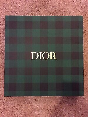 Dior Green Checked Pattern Garment Gift Box With Ribbon Med/Large Used Once