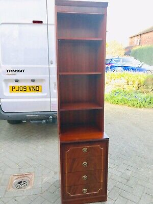 Mahogany / Redwood tall display Cabinet/Book Shelf with Drawer Section 1 Of Pair