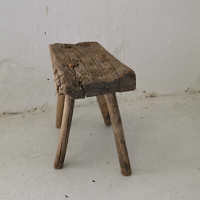 Antique Rustic Hand-Carved Wooden Milking Stool or Small Table