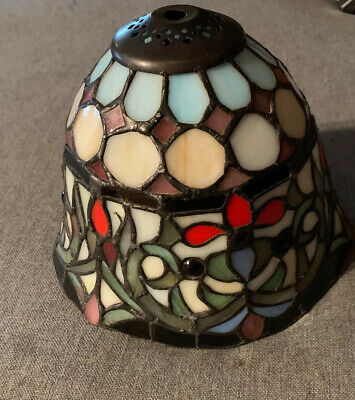 """Antique Tiffany Style Stained Glass Hanging Ceiling Drop Lamp Shade Appx 6""""x6"""""""