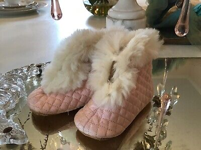 shabby Vtg pair Pink Quilted Fur Victorian Baby Shoes Booties