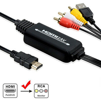 1080P HDMI to 3 RCA AV Video Audio Cable Converter Adapter For HDTV PS4 XBOX DVD