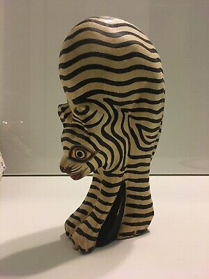 Vintage Hand Painted And Carved Wooden Striped Cat Art Deco Piece