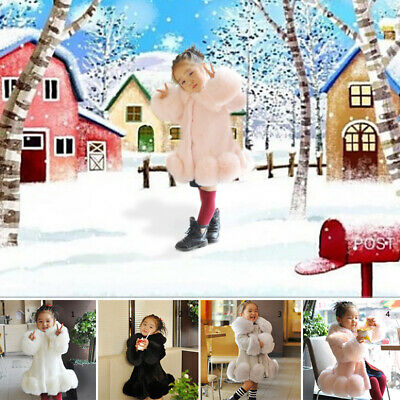 Kid Child Girl Winter Warm Faux Fur Thicken Party Jacket Parka Trench Coat