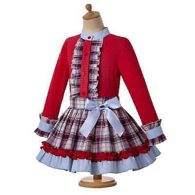Christmas Girls Kid Clothing Set Red Blouse Tartan Skirt Headband Romany Spanish