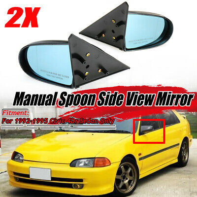 Spoiler Combo Fit 92-95 Civic 2//3DR Manual Adj Spoon Style Side View Mirror