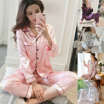 Women's Ladies Satin Pyjama Set Nightwear Pajamas Long Sleeve Nightwear Super