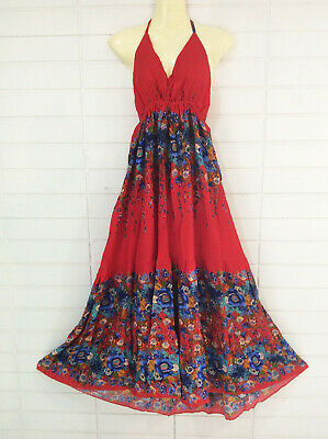 Womens Summer Beach Maxi Flared Halter Long Dress Casual Red Floral Rayon S M L