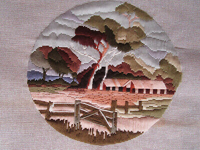 Completed Long Stitch Of Shearing Shed In A Paddock..27.5Cms High X 29Cms Wide