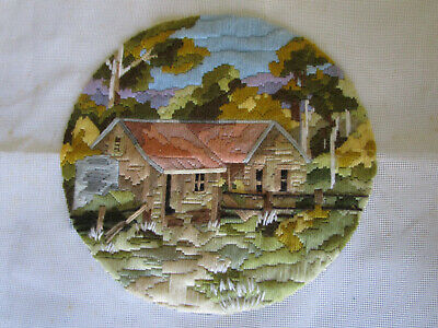 Completed Long Stitch Of Loggers Cottage..28Cms High X 28.5Cms Wide