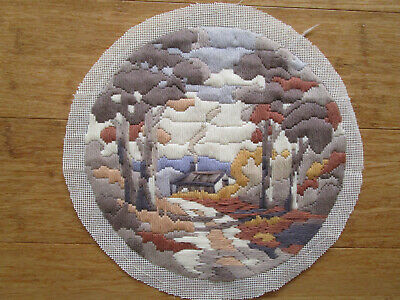Completed Long Stitch Of A Cabin In The  Trees 28Cms High X 29Cms Wide