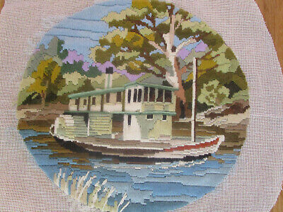 Completed Long Stitch Of A River Boat & Trees 27.5Ms High X 29Cms Wide