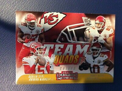 2018 Panini Contenders Team Quads Mahomes/Hunt/Kelce/Hill Chiefs Football Card