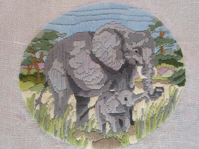 Completed Long Stitch Of An Elephant & Baby 25Ms High X 28Cms Wide