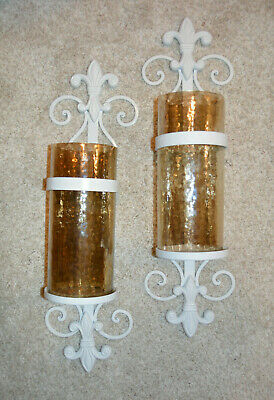 Fleur De Lis Sconce White Metal with Amber Glass Cylinders Pair Lights included
