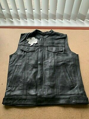 New Mens 'Sons of Anarchy' Style A Grade Quality Leather Biker Waistcoat
