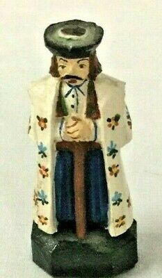 Vintage Hand Painted German Religious Carved Medieval Scholar Wooden Figure