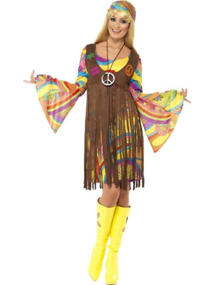 Women's 60s Hippy Costume Groovy Baby Hippie Sixties Ladies Fancy Dress Outfit