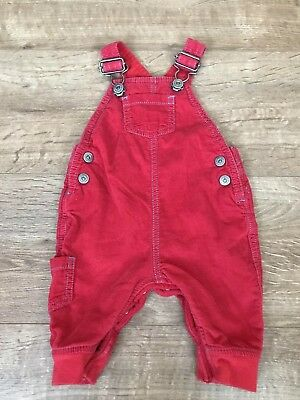 Next Baby Boy Red Corduroy Dungarees Up To 3 Months