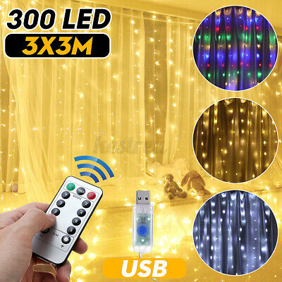 216LED Snow Icicle Curtain Fairy Lights Hanging Outdoor Window Christmas Wedding