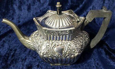 Antique Silver Plated Teapot for Repair /Restoration - Victorian Reed & Repousse