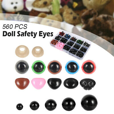 560pcs Color/Black Safety Eyes Nose Mixed Toy Box For Teddy Bear Doll Making DIY