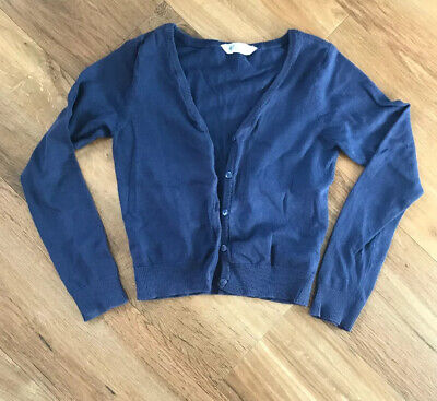 Girls Cotton Navy Blue Fine Knit H&M cardigan 8-10 Years GC