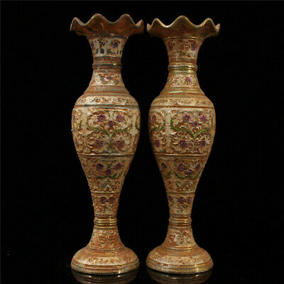 """8.67"""" Chinese Exquisite Pure Copper Gilt Cloisonne painted flower vase A pair"""