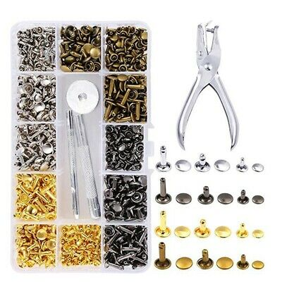 360Pcs 3 Sizes Leather Rivets Double Cap Rivet Tubular Metal Studs with 4 F A2K3