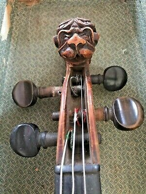 18TH CENTURY ANTIQUE GERMANY LION HEAD VIOLIN, REMENJI BOW, MOP inlay on tai