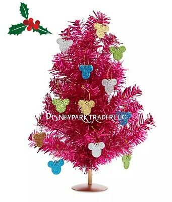 Disney Parks Mickey Mouse Tinsel Holiday Table Top Christmas Tree Pink