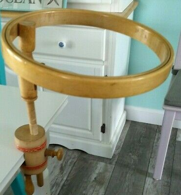 Antique Embroidery Hoop Table Clamp Wood Adjustable Height Vintage Hoop 9""