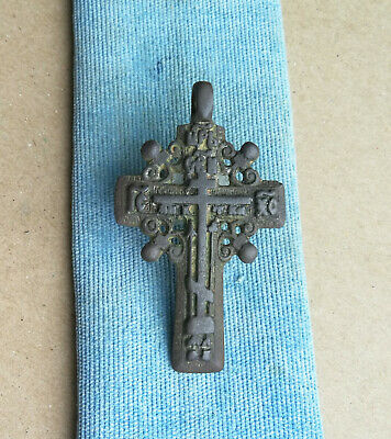"ANTIQUE 16-18th CENTURY LARGE BRONZE "" OLD BELIEVERS "" ORTHODOX * SUN * CROSS"