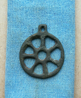 """Ancient Viking Bronze pendant AMULET """" WHEEL OF FORTUNE """" GREAT SAVE RARE!"""